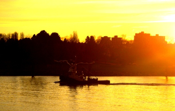 December Gold at sunset - chug of the tug returning to dock in Vancouver.